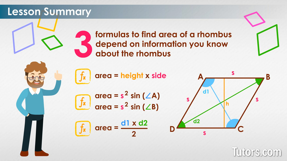 How To Find The Area Of A Rhombus Formula Video Tutors Com