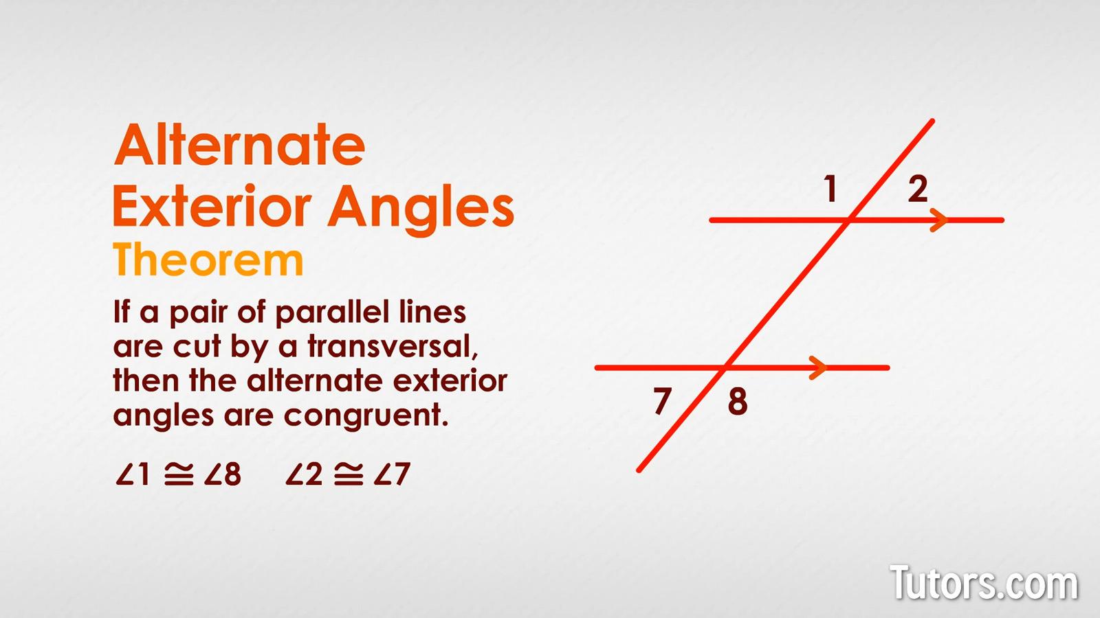 Exterior Math: Alternate Exterior Angles (Definition, Theorem, Examples