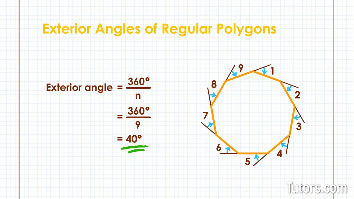 What is a polygon video definition shapes angles - Define exterior angle of a polygon ...
