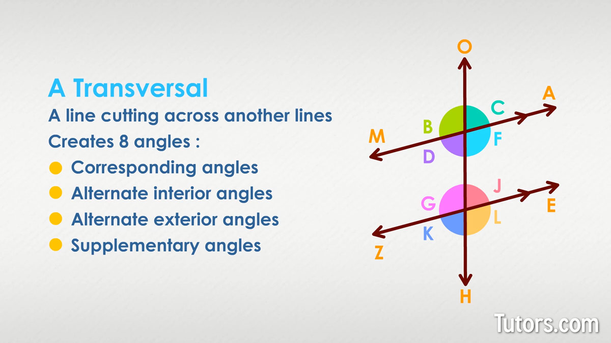 Angles Parallel Lines Transversals Proving Lines Parallel Video