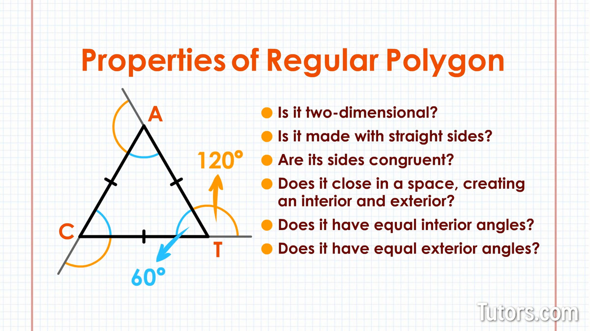 Regular polygons video definition examples properties - Define exterior angle of a polygon ...