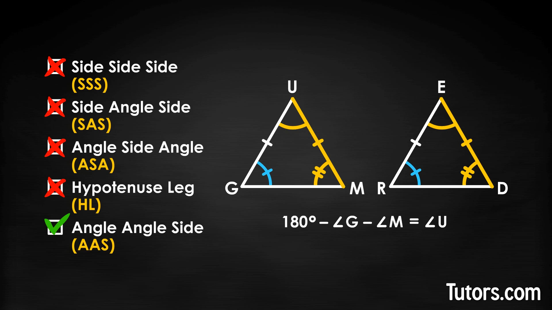 The Aas Angle Angle Side Theorem Video Examples Tutors Com