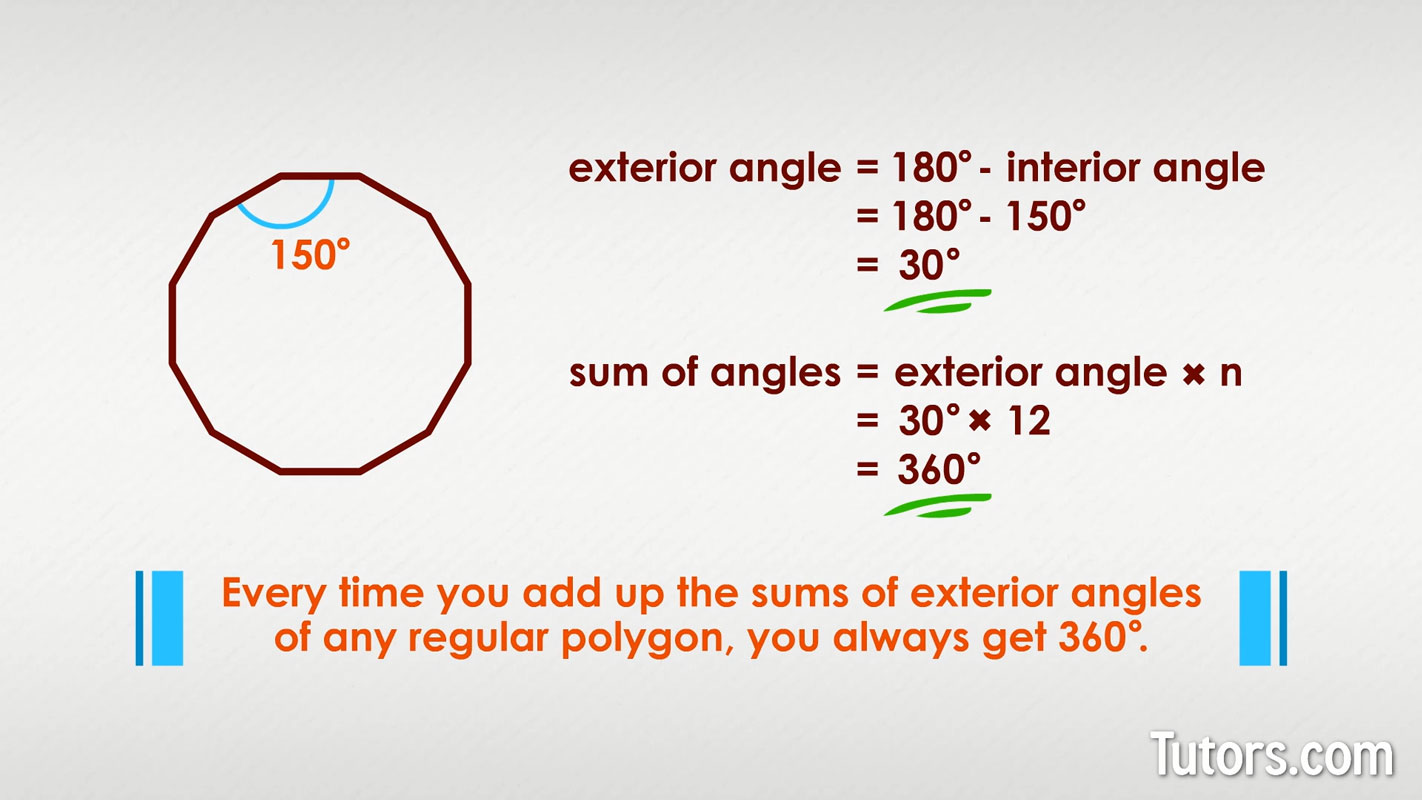Sum of interior exterior angles polygons pentagon - Exterior angle of a polygon formula ...