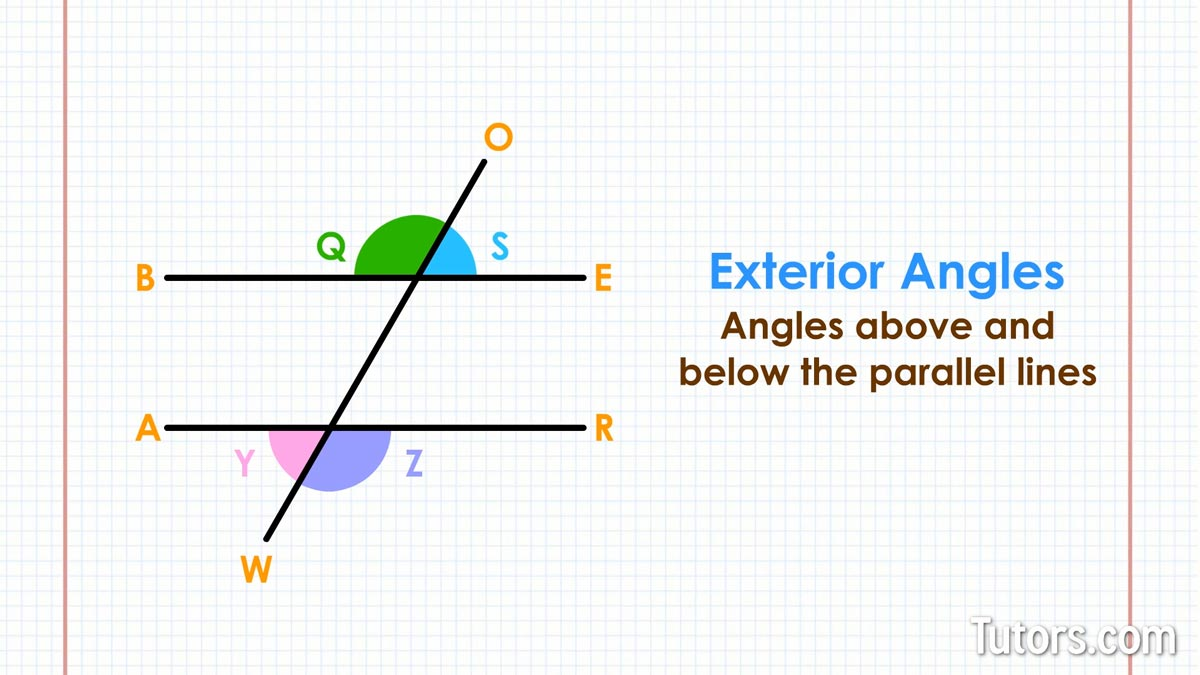 Exterior Math: Transversal Lines, Angles, & Definition (Video & Examples