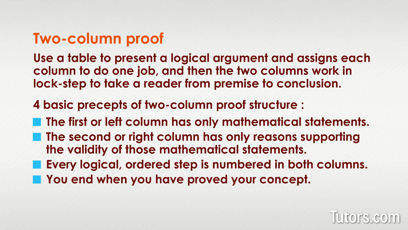 Two Column Proof in Geometry Definition, Examples, & Video